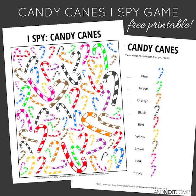 Christmas Candy Game  Candy Canes Christmas I Spy Game Free Printable for Kids