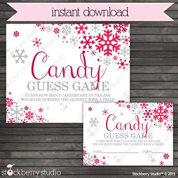 Christmas Candy Game  Christmas Baby Shower Candy Guessing Game Printable