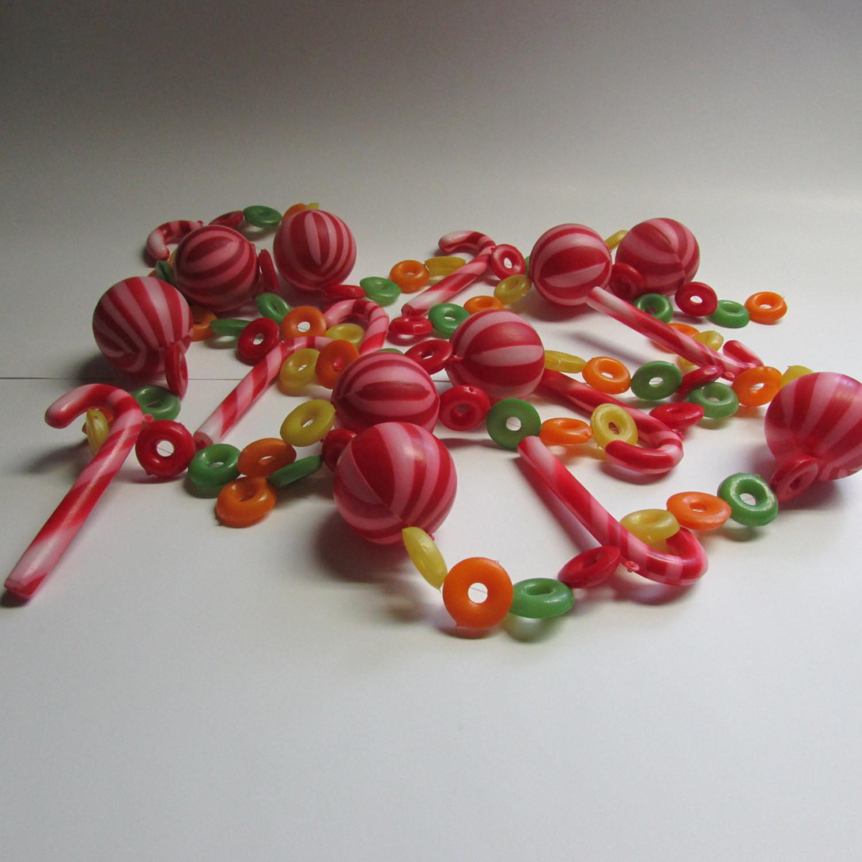 Christmas Candy Garland  Vintage Christmas Plastic Candy Garland LIfe Savers Candy