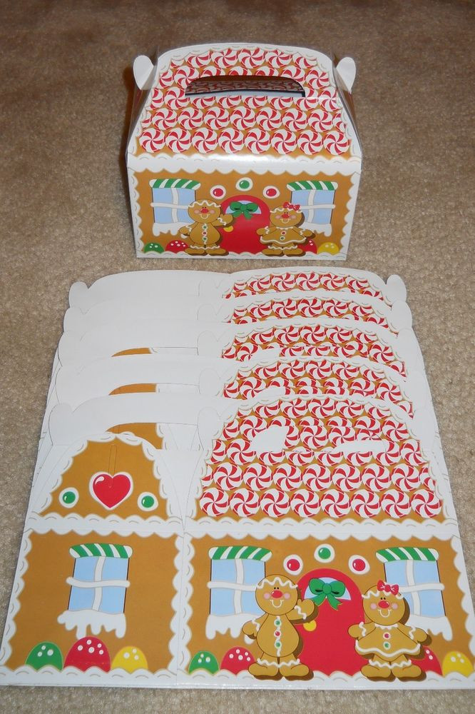 Christmas Candy Gift Boxes  Lot of 6 or 12 Gingerbread House Christmas holiday treat