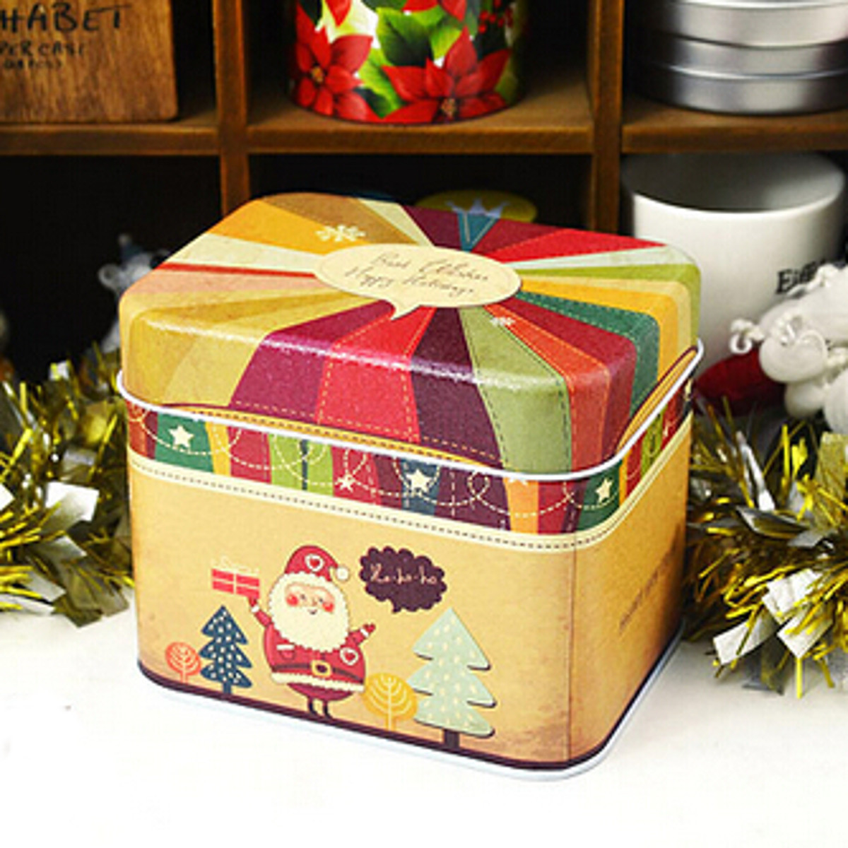 Christmas Candy Gift Boxes  1x Christmas Theme Tin Square Iron Case Cookies Candy