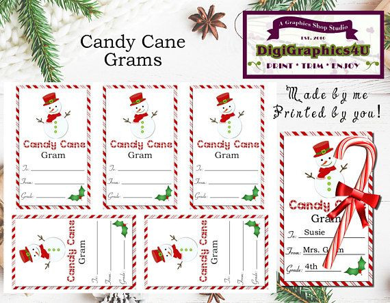 Christmas Candy Gram Template  Christmas or Holiday Snowman Candy Cane Grams or Paper