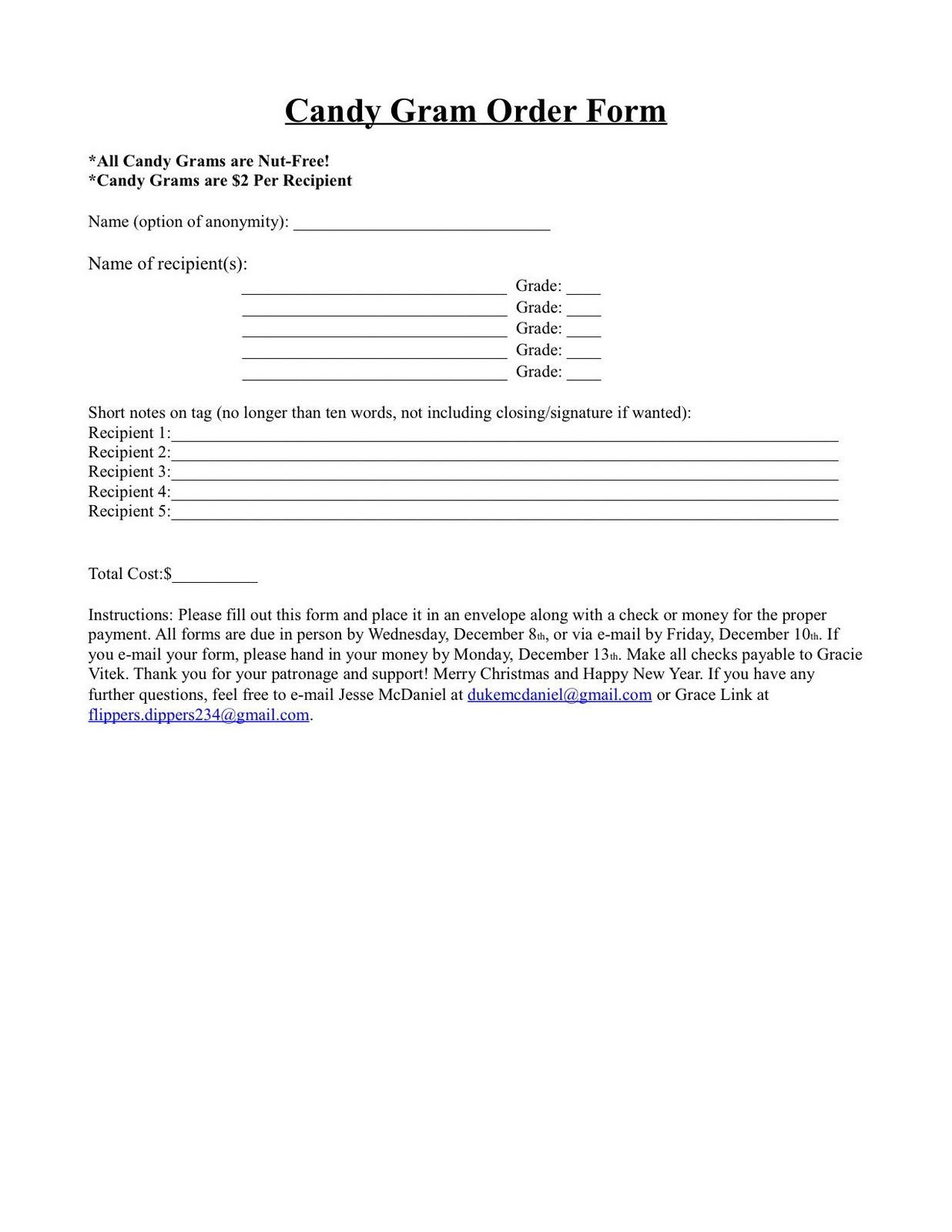 Christmas Candy Gram Template  halloween candy grams printable order form