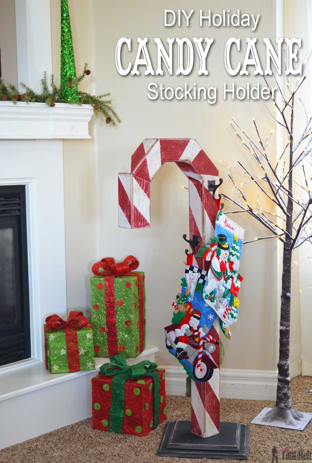 Christmas Candy Holders  Candy Cane Holiday Stocking Post Her Tool Belt