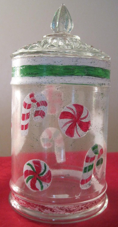 Christmas Candy Jars  Christmas Hand Painted Candy Jar