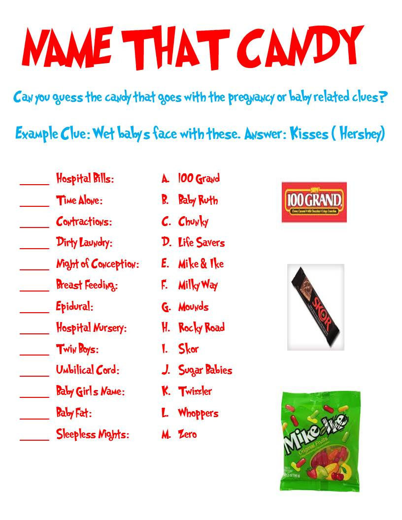 Christmas Candy Names  Name That Candy Baby Shower Game Can Be Used for Any Themed