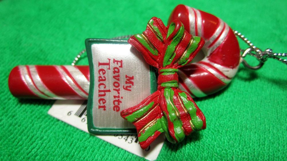 Christmas Candy Names  Ornament Personal Name Candy Cane & Plaid Bow MY