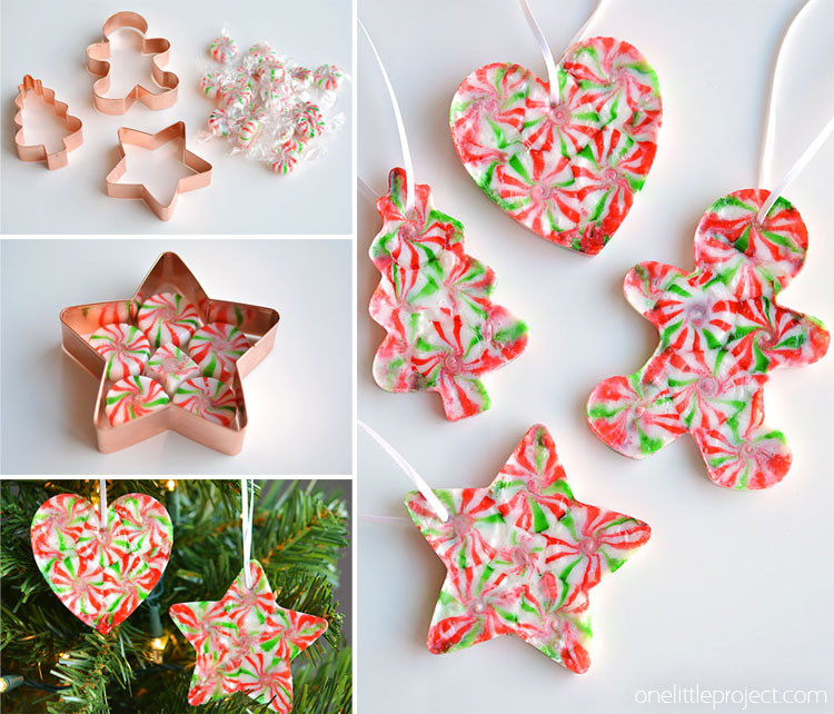 Christmas Candy Ornaments  Melted Peppermint Candy Ornaments