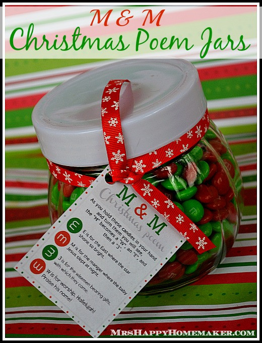Christmas Candy Poems  M & M Christmas Poem Candy Jars Mrs Happy Homemaker