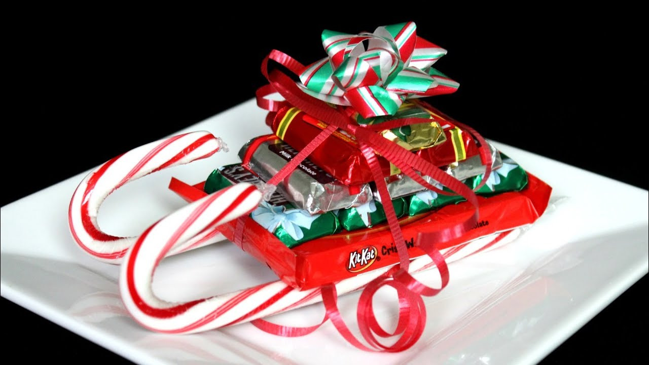 Christmas Candy Sleds  CHRISTMAS CANDY CANE SLEIGH HOW TO