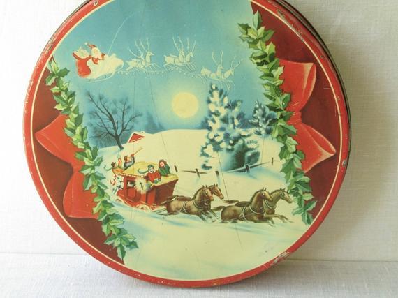 Christmas Candy Tins  Vintage Christmas Candy Cookie Tin