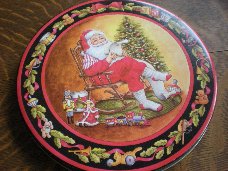 Christmas Candy Tins  Christmas Cookie TINS CANDY Tin Old Red Plaid Tin