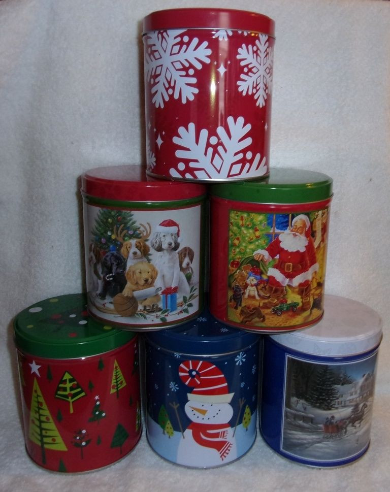 Christmas Candy Tins  Lot of 6 Holiday Christmas decorative candy cookie nuts