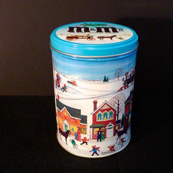 Christmas Candy Tins  M&M Metal Tin Vintage Christmas Candy Tin Box M and M Holiday