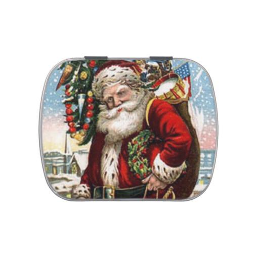 Christmas Candy Tins  Vintage Santa Holiday candy tin