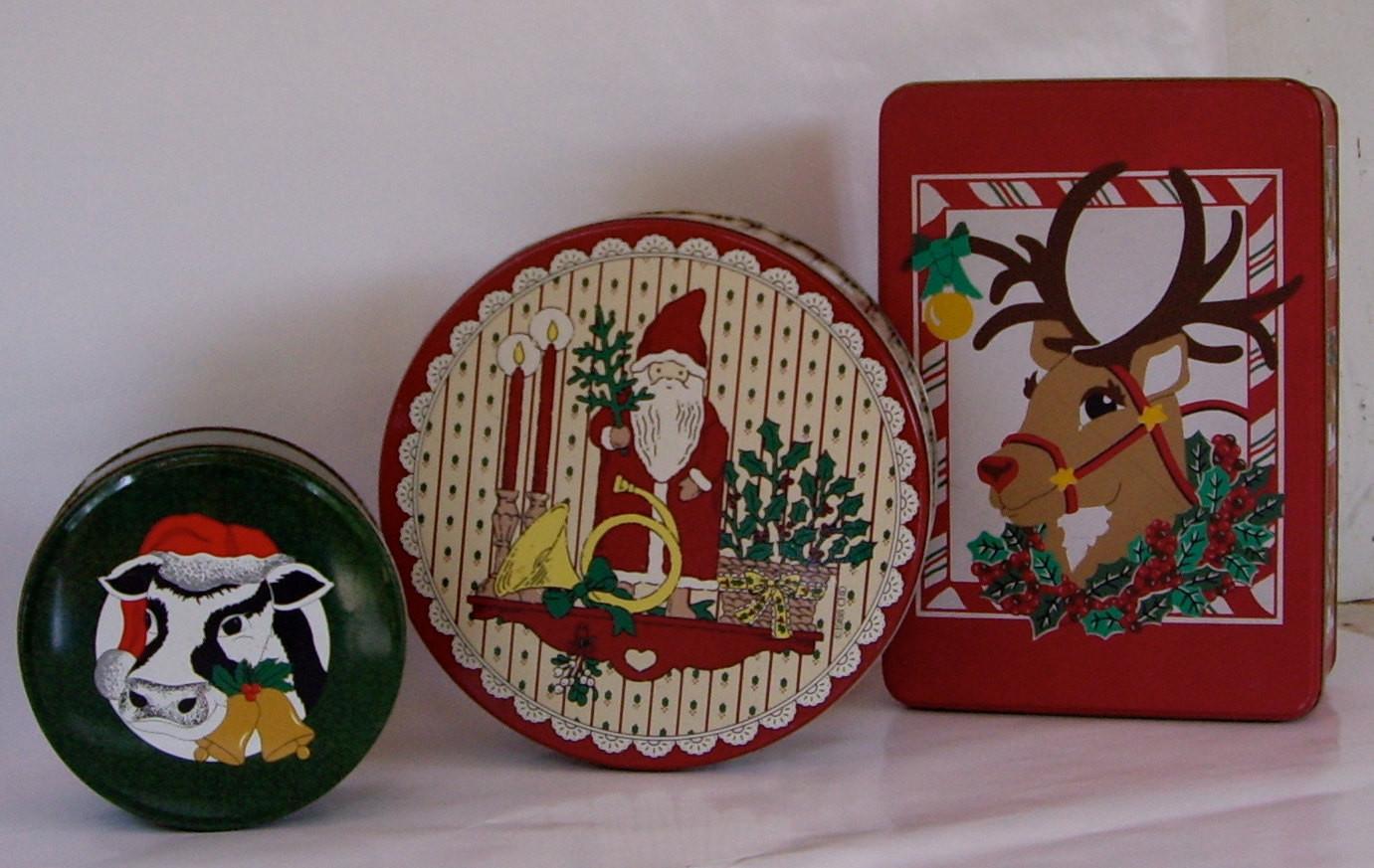 Christmas Candy Tins  Vintage Tins Christmas Cookies Candy 1990