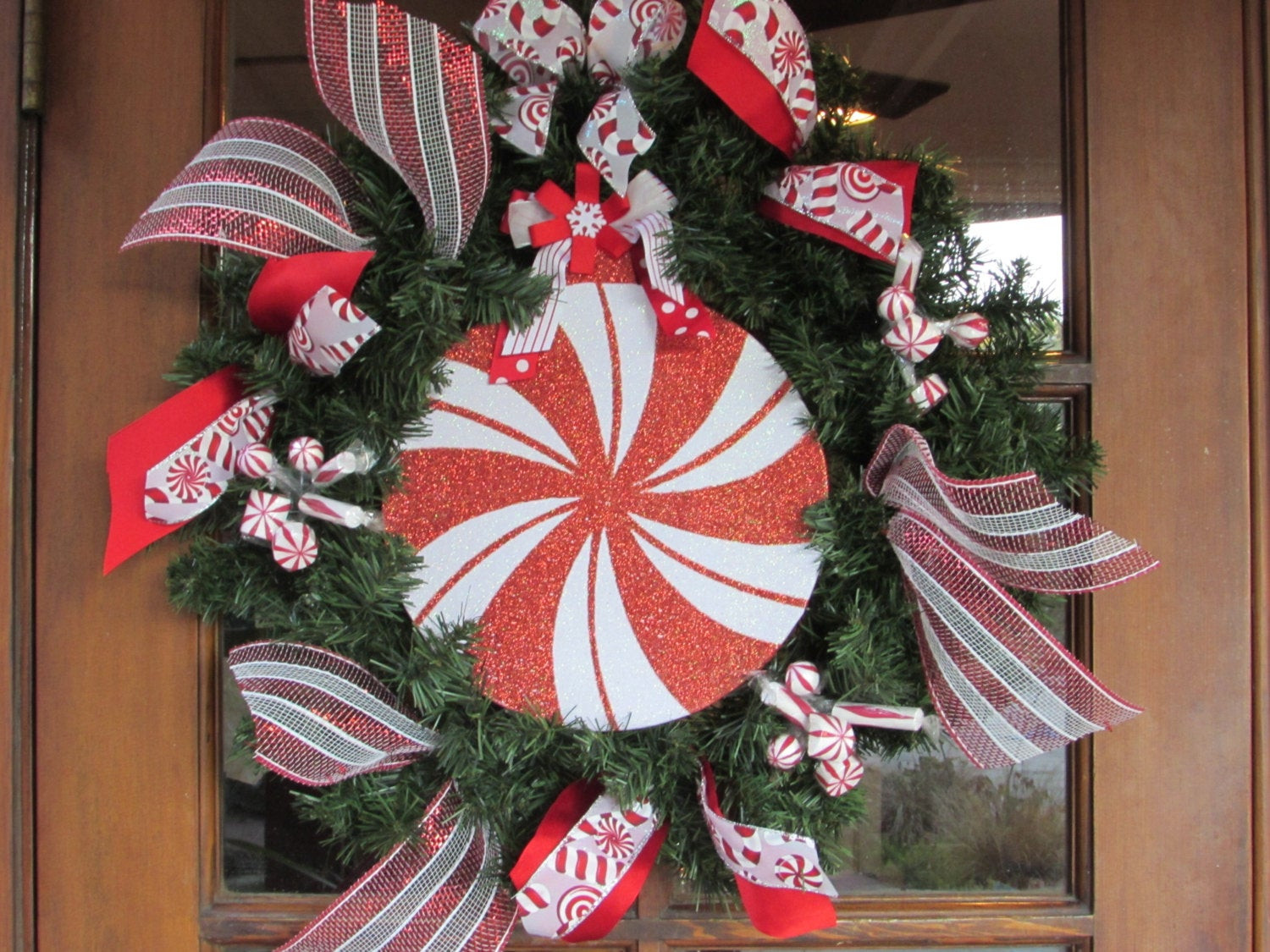 Christmas Candy Wreath  20 Christmas Wreath Mint Candy Wreath Red White