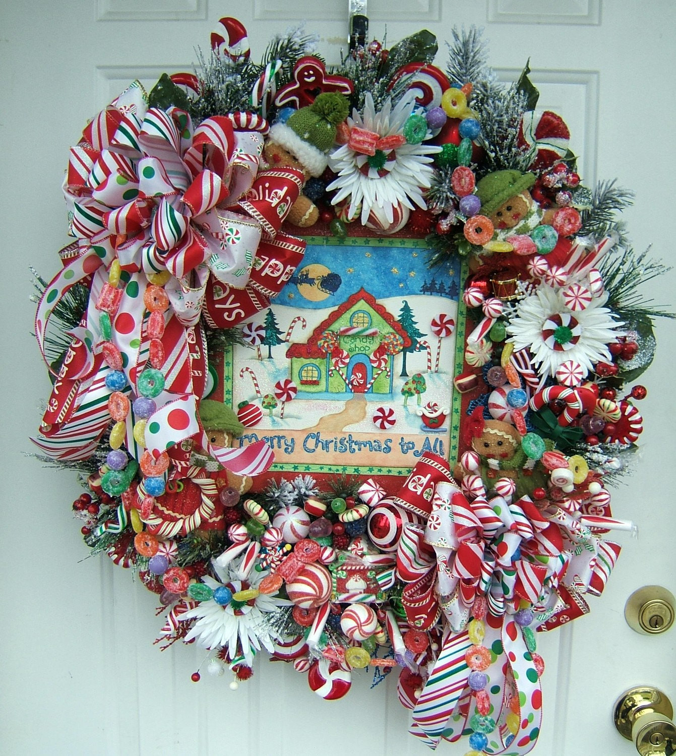 Christmas Candy Wreath  Gingerbread Christmas candy shop door floral wreath