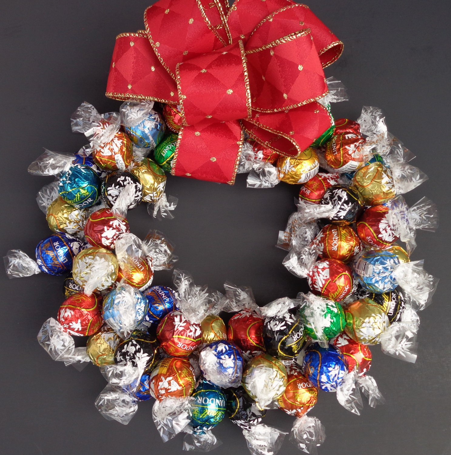 Christmas Candy Wreath  Chocolate Truffle Candy Wreath Holiday by CandyWreathsbyCarla