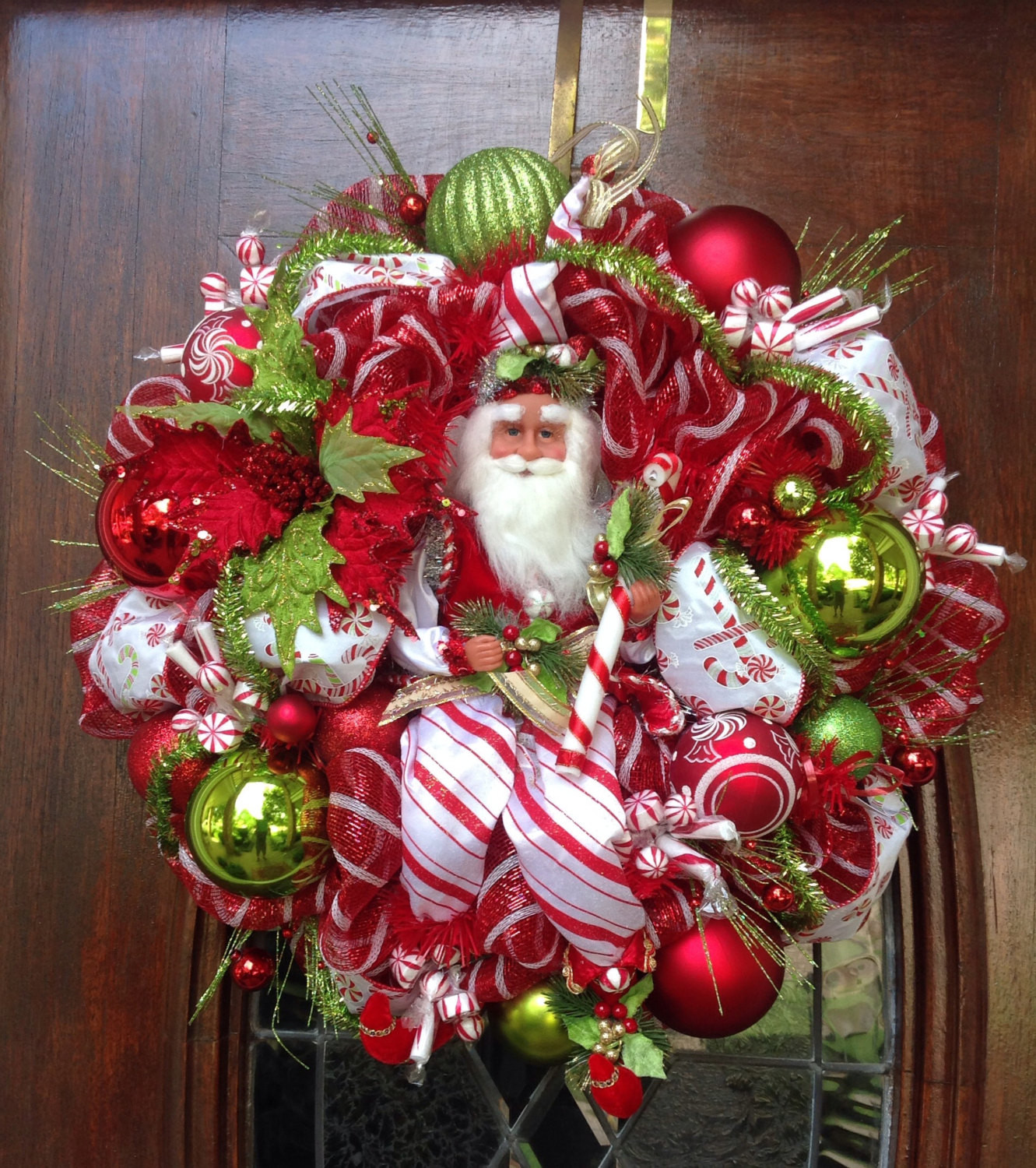 Christmas Candy Wreath  Peppermint Candy Christmas Fairy Wreath by HertasWreaths