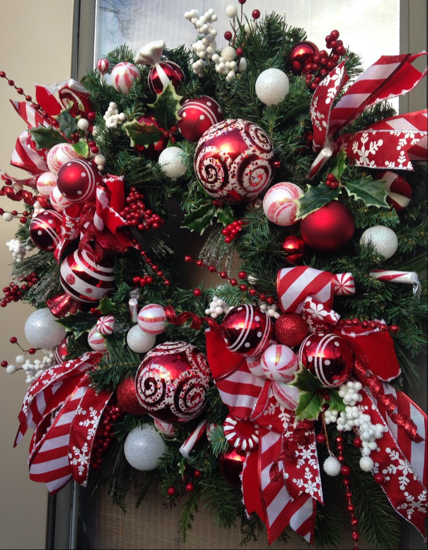 Christmas Candy Wreath  PEPPERMINT HOLIDAY Whimsical Christmas Holiday Candy Wreath