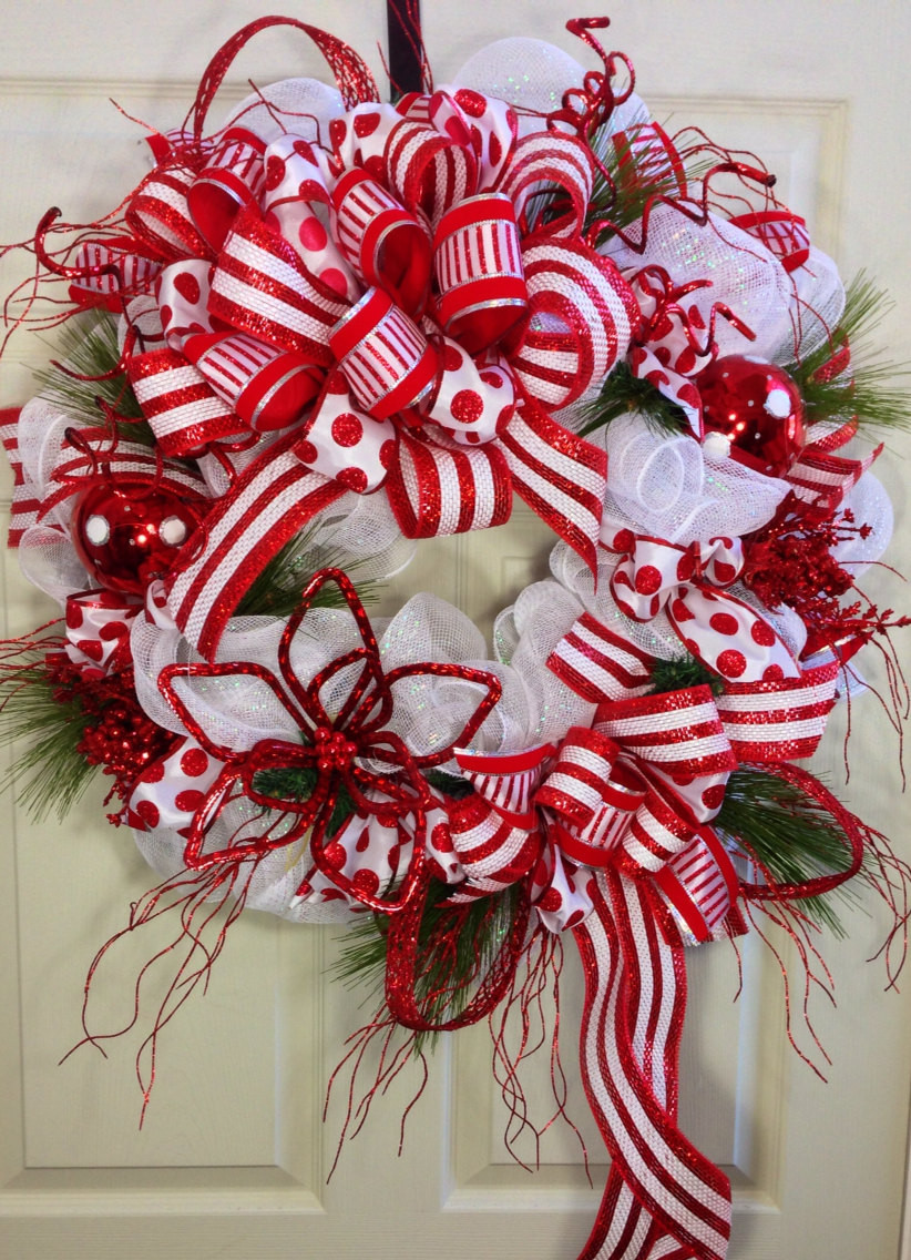 Christmas Candy Wreath  Candy Cane Mesh Christmas Wreath