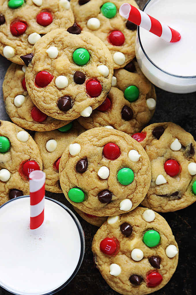 Christmas Choc Chip Cookies  Santa s Cookies Double Chocolate Chip M&M Cookies