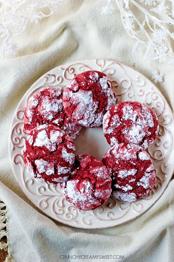 Christmas Cookies From Scratch  Red Velvet Crinkle Cookies Crunchy Creamy Sweet