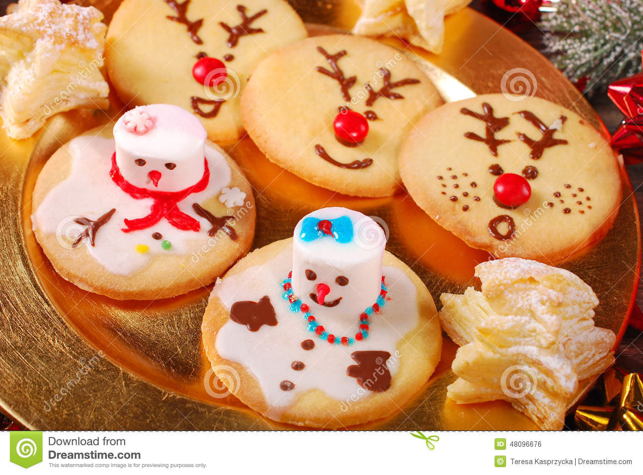 Christmas Cookies Funny  Funny Christmas Cookies Made By Kids Stock Image