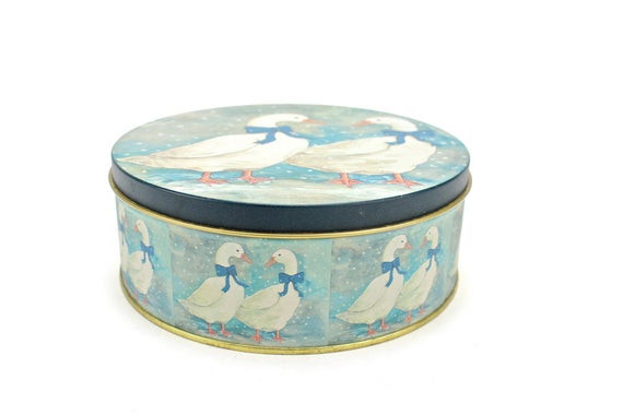 Christmas Cookies In Blue Tin  Vintage Geese Tin Round Tin Box Winter Geese Storage Tin