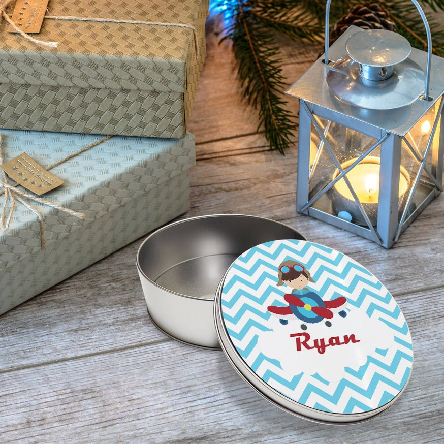 Christmas Cookies In Blue Tin  Personalized Round Tin Airplane Pilot Boy Blue Chevron
