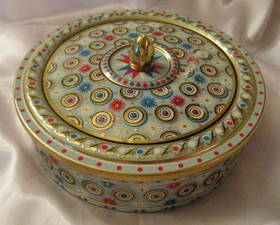 Christmas Cookies In Blue Tin  Vintage Made in Belgium Round Christmas Cookie Tin Gold