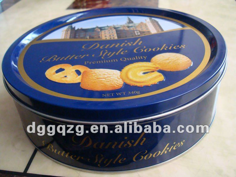 Christmas Cookies In Blue Tin  Round Printed Christmas Cookie Tins Buy Christmas Cookie