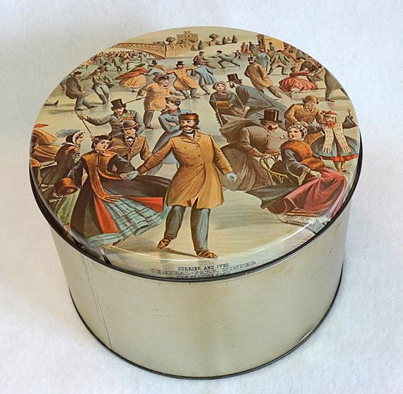 Christmas Cookies In Blue Tin  Vintage Maurice Lenell Cookie Tin Currier & Ives