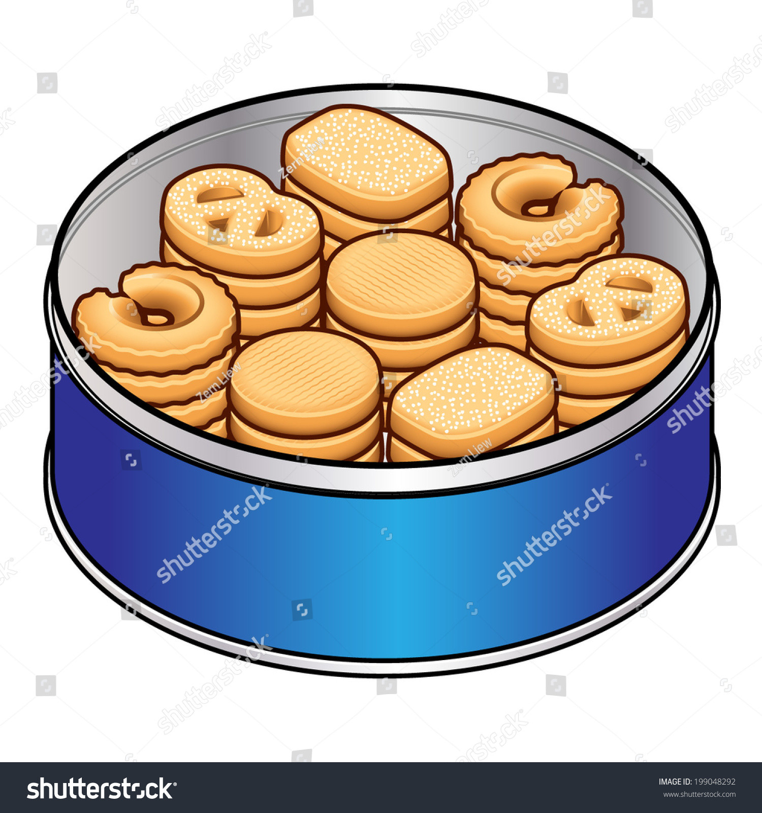 Christmas Cookies In Blue Tin  Selection Danish Butter Cookies Blue Tin Stock Vector