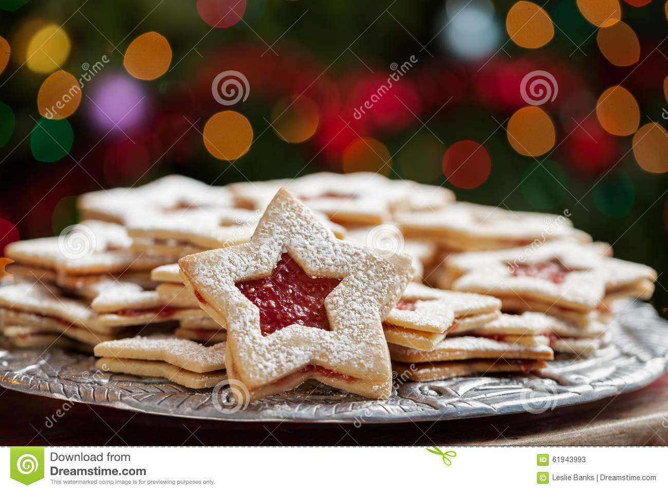 Christmas Cookies Plates  Plate Christmas Cookies Under Lights Stock