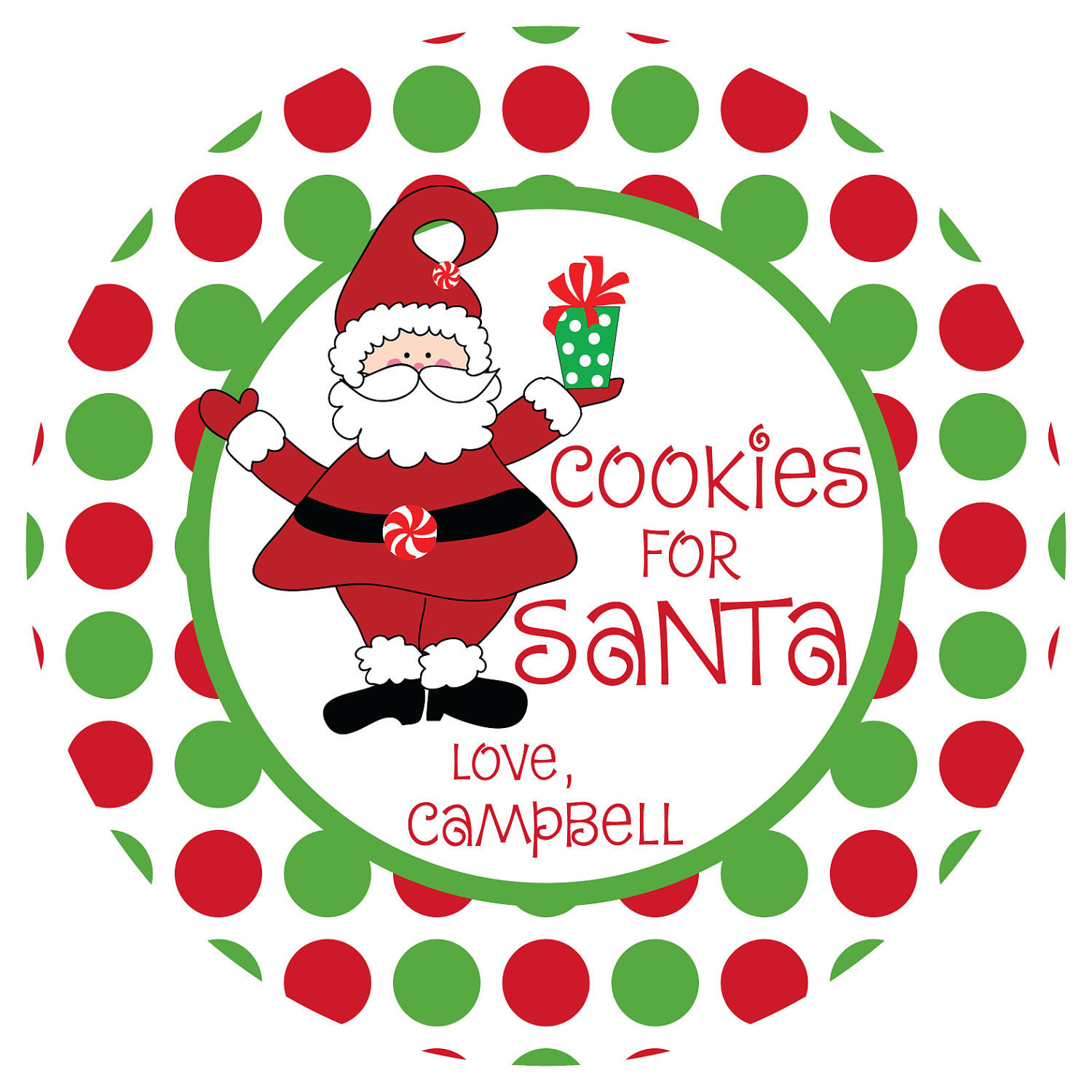 Christmas Cookies Plates  Cookies for Santa Plate Personalized Melamine Plate