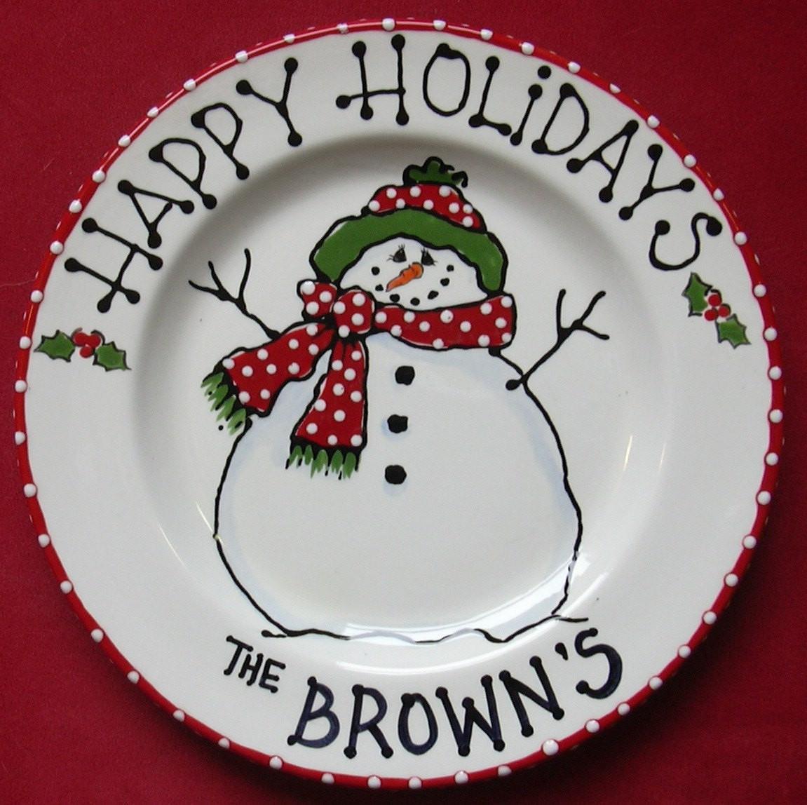 Christmas Cookies Plates  Snowman Plate cookies for santa santa cookie plate child