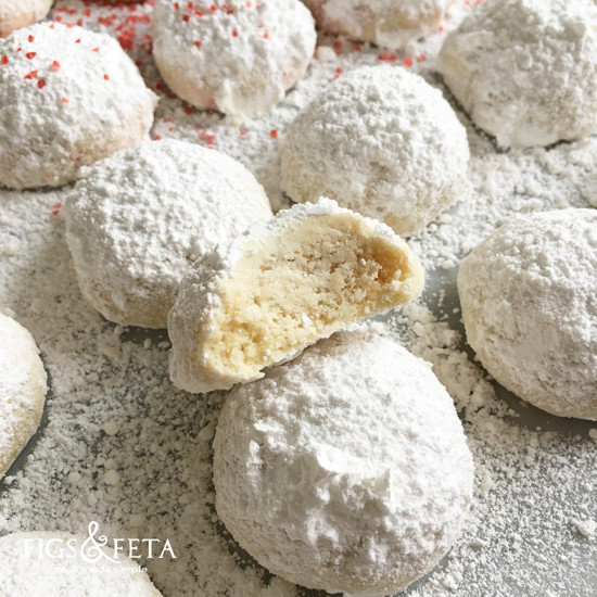 Christmas Cookies With Powdered Sugar  Kourabiethes Powdered Sugar Greek Butter Cookies Figs