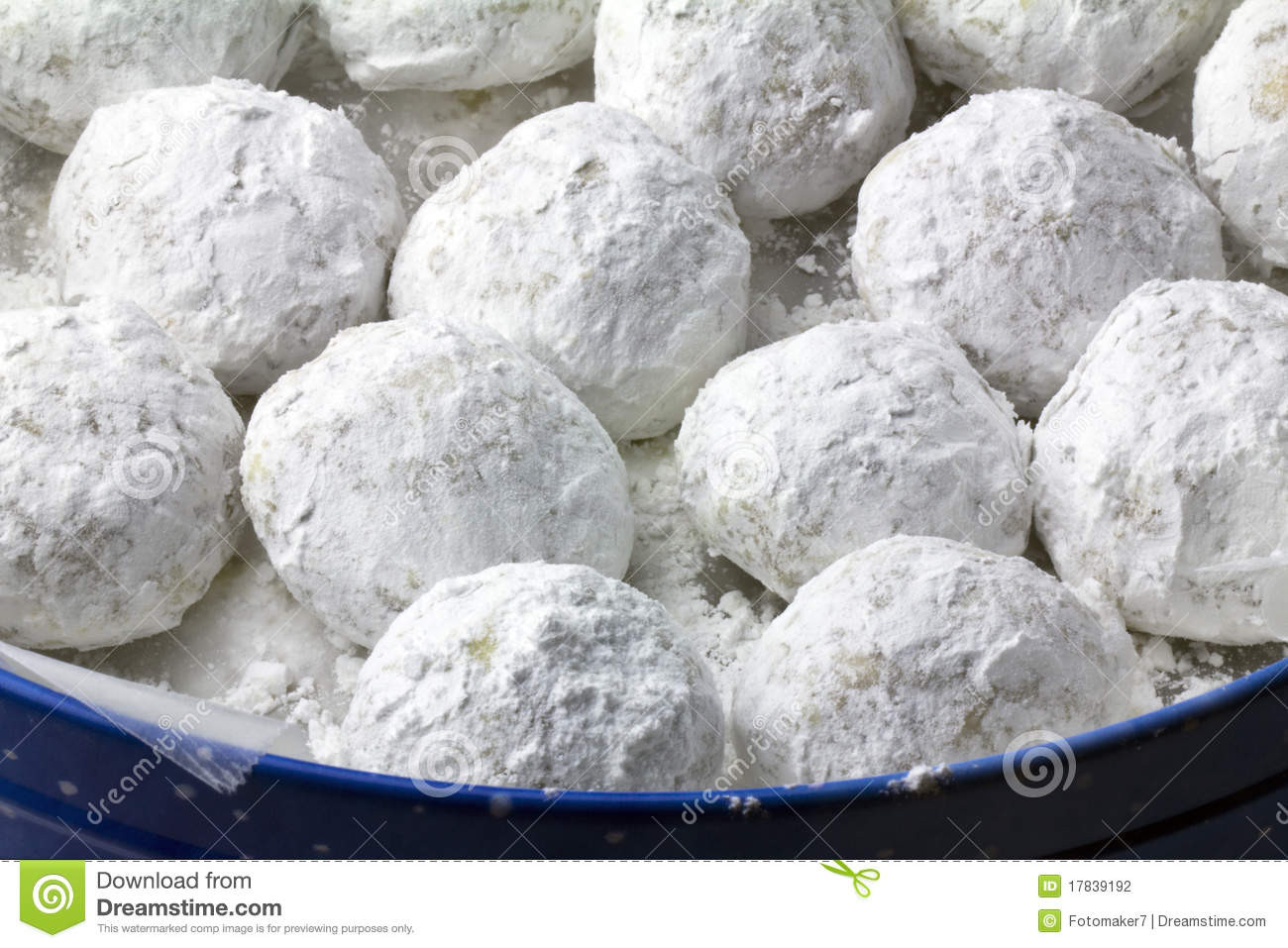 Christmas Cookies With Powdered Sugar  Pecan Puff Powdered Sugar Cookies Stock graphy