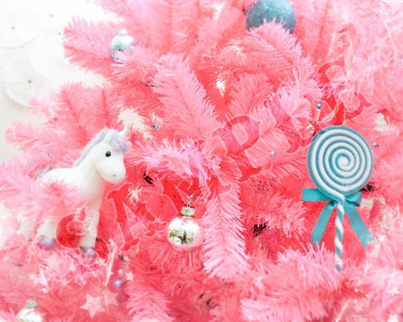 Christmas Cotton Candy  Pink Christmas Tree 8x10 Art Print Cotton Candy by