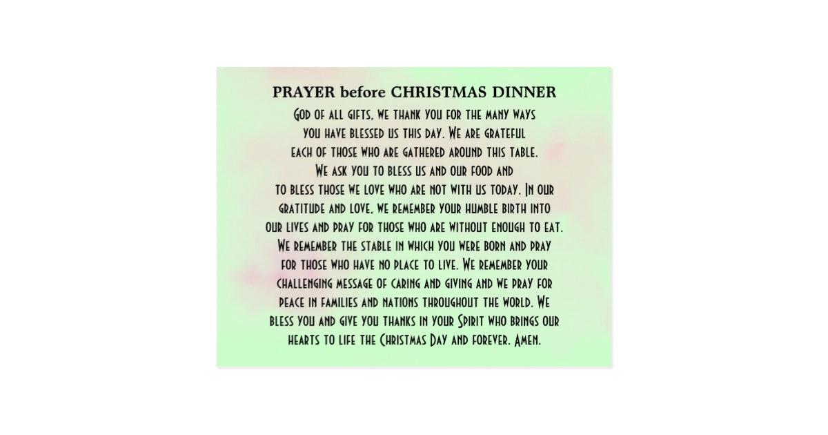Christmas Dinner Prayers Short  Prayer before Christmas Dinner Postcard