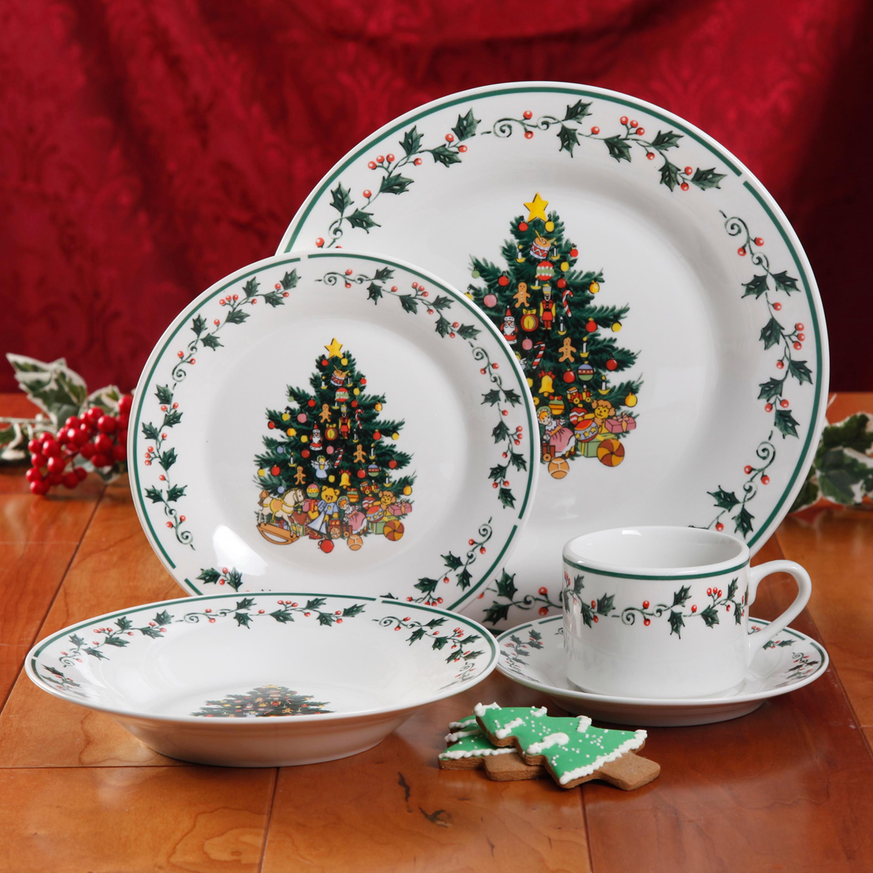 Christmas Dinner Set  Gibson Home 20RM Christmas Tree Trimmings 20 Piece