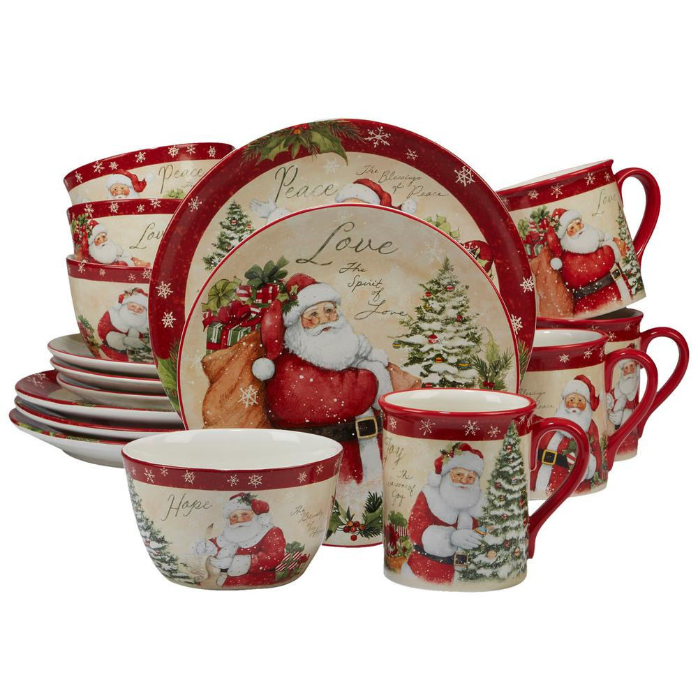 Christmas Dinner Set  Certified International Holiday Wishes by Susan Win 16
