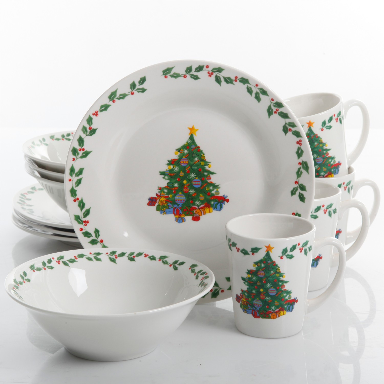 Christmas Dinner Set  Gibson Home Joyous Gathering 12 Piece Dinnerware Set