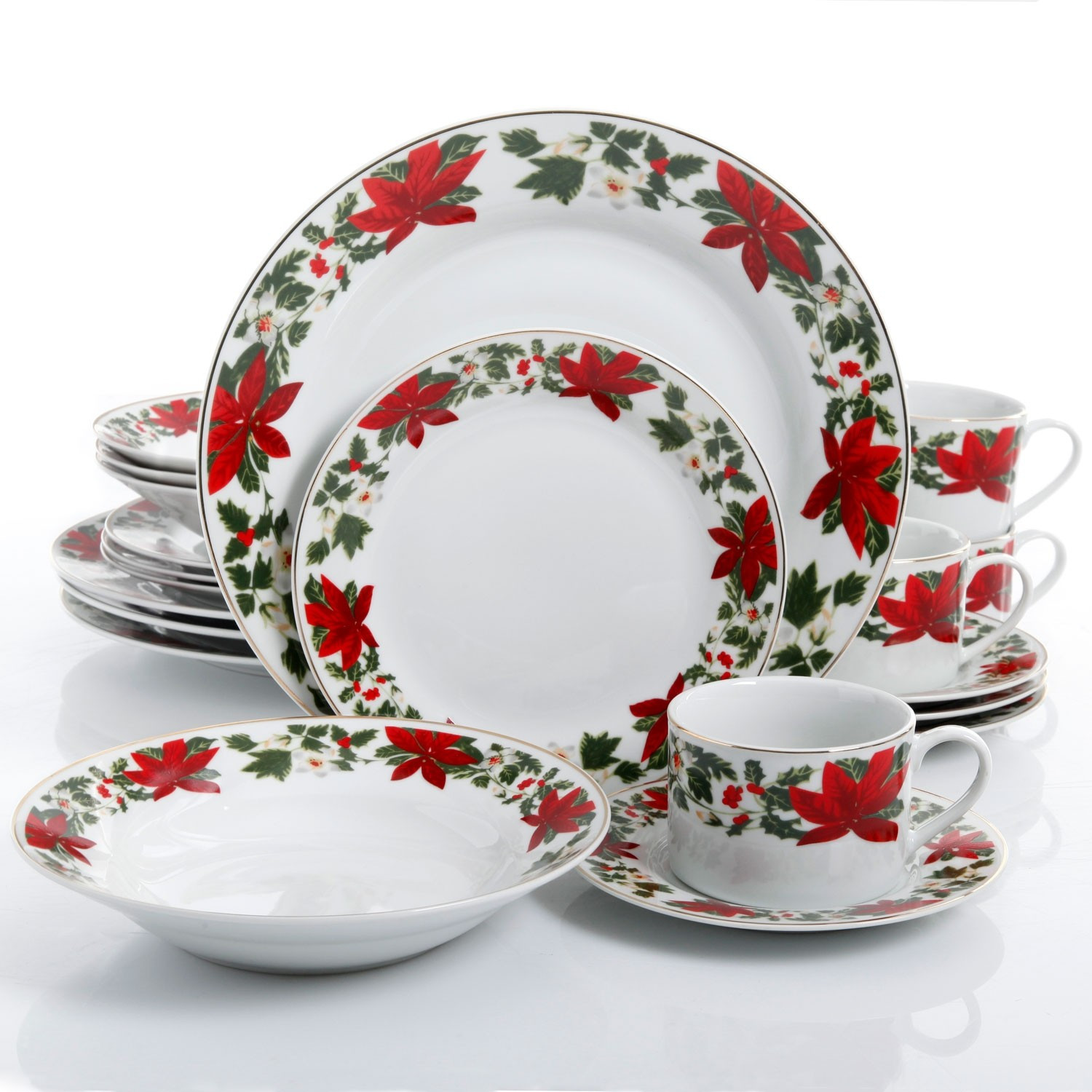 Christmas Dinner Set  Gibson Home Poinsettia Holiday 20 Piece Dinnerware Set