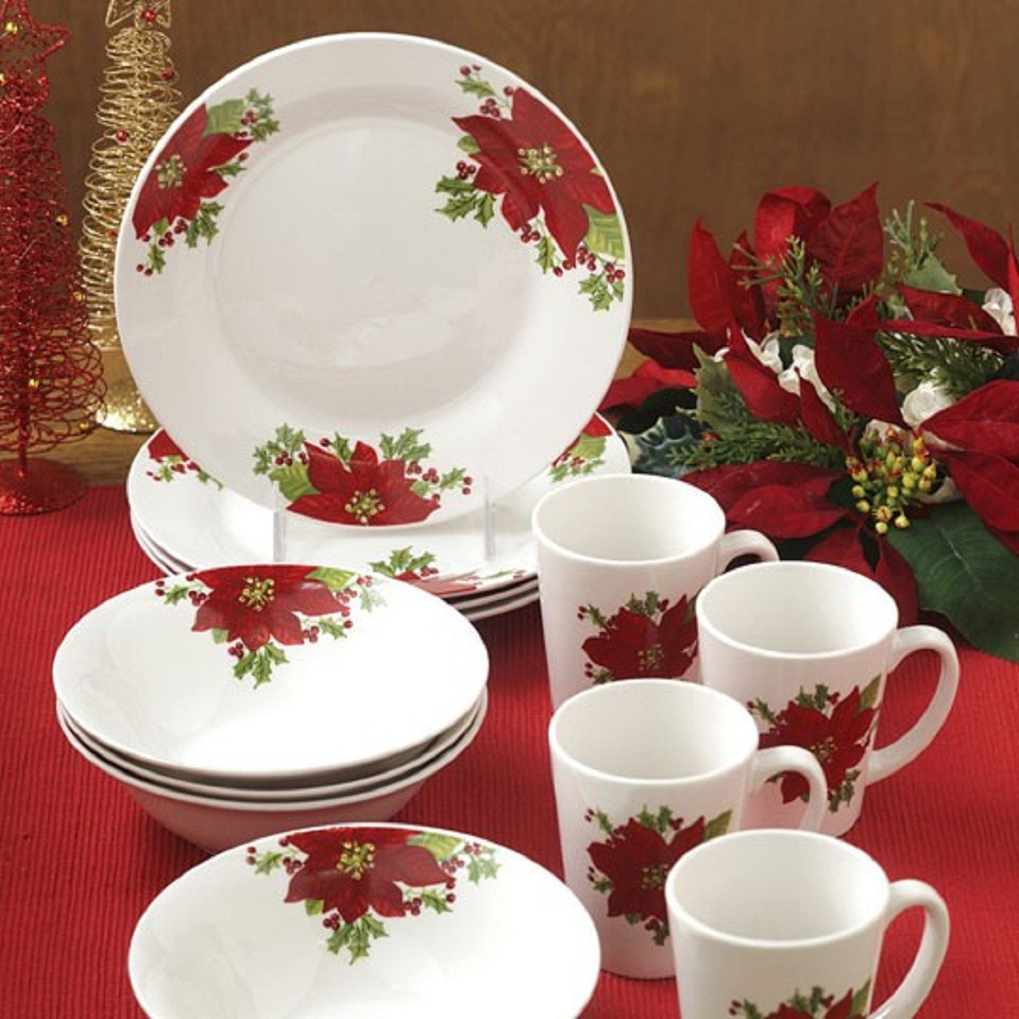 Christmas Dinner Set  Christmas Holidays Poinsettia 12 Piece Dinnerware Set