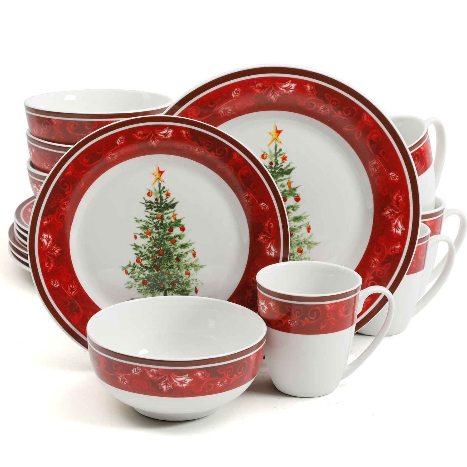 Christmas Dinner Set  Gibson Home Noel Nostalgia 16 Piece Dinnerware Set