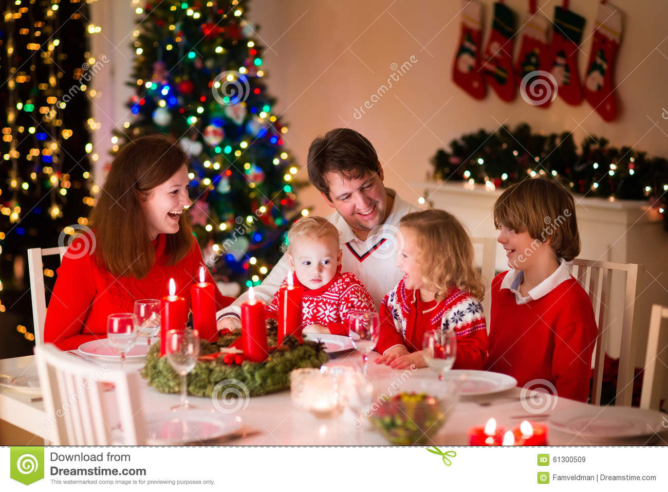 Christmas Dinners For Kids  Family At Christmas Dinner At Home Stock Image