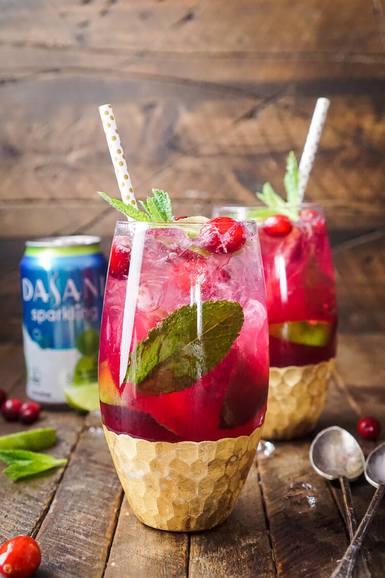 Christmas Drink Recipes  Cranberry Mojito Punch Sugar & Soul